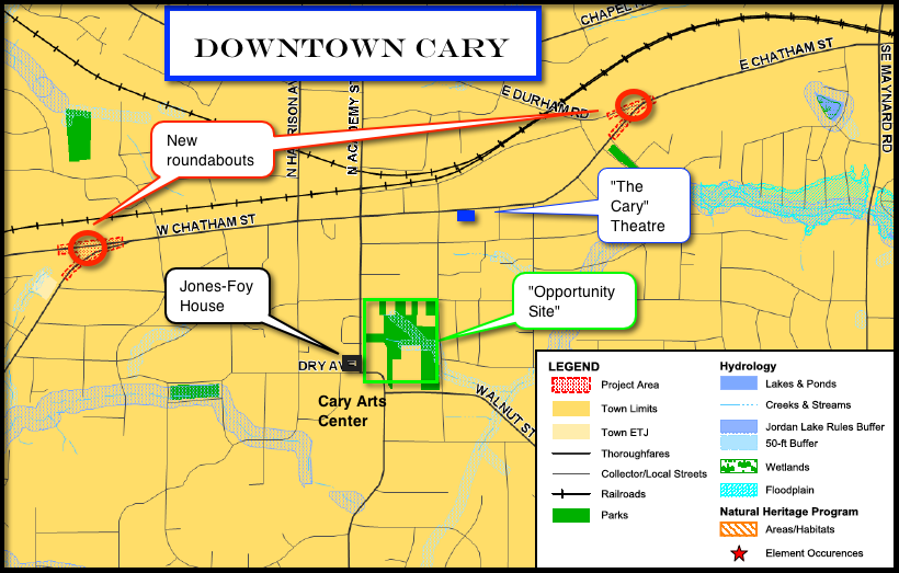 Town of Cary Map (annotated)