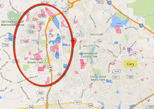 Map of development around Cary